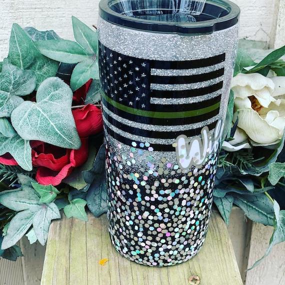 Military Wife Glitter Tumbler, Glitter Tumbler Personalized, Tumbler