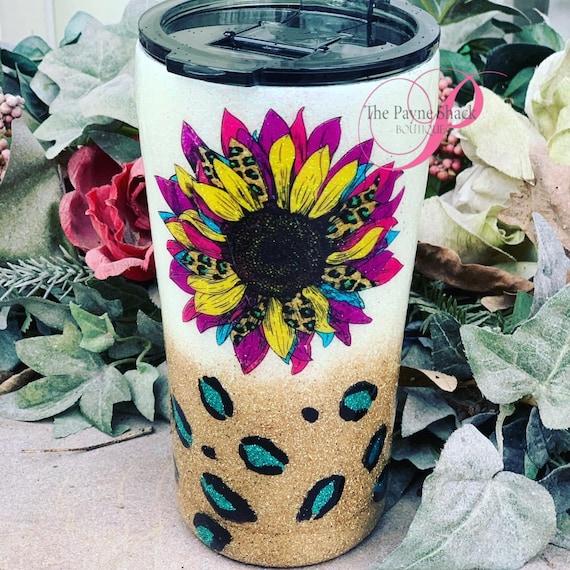 Sunflower Leopard Glitter Tumbler, Glitter Tumbler Personalized, Tumbler