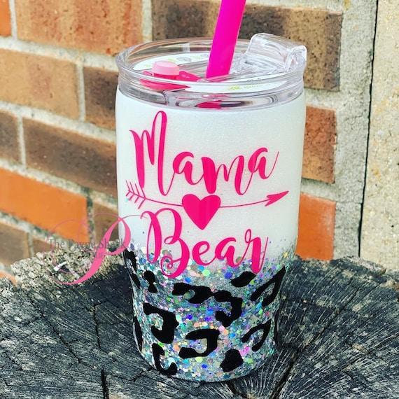 Mama Bear Glitter Tumbler, Glitter Tumbler Personalized, Tumbler