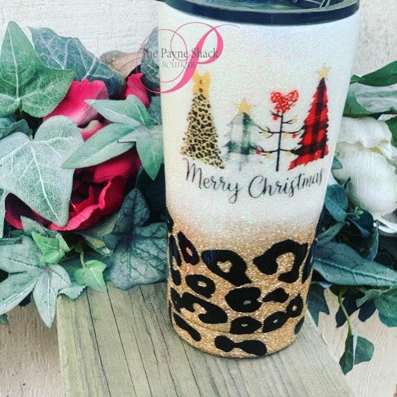 Merry Christmas Leopard Glitter Tumbler, Glitter Tumbler Personalized, Tumbler