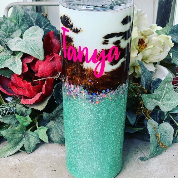 Cow Hide Tumbler,  Glitter Tumbler Personalized
