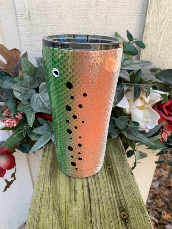 Rainbow Trout Fishing Lure Cup, Father's Gift, Tumbler