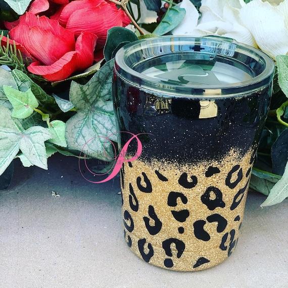 Leopard Print Tumbler, Glitter Tumbler Personalized