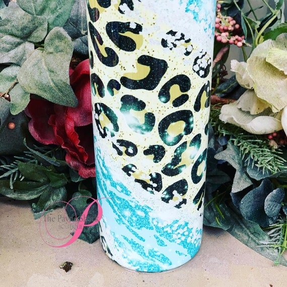 Blue Leopard camo Sublimated Tumbler No Epoxy!