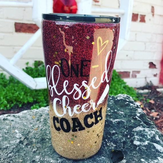 One Blessed Cheer Coach Glitter Tumbler, Tumbler