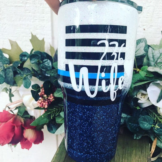 Police Wife Glitter Tumbler, Glitter Tumbler Personalized, Tumbler