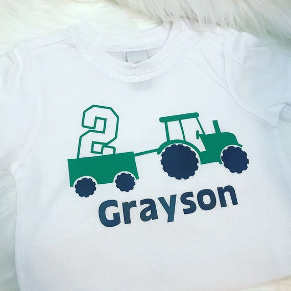 Tractor 2nd Birthday Shirt Personalized Or BodysuitGreen