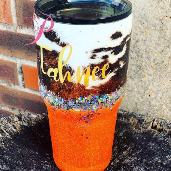Cow Hide Tumbler,  Glitter Tumbler Personalized