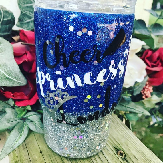 Cheer Princess Glitter Tumbler, Glitter Tumbler Personalized, Tumbler