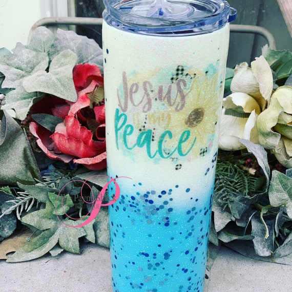 Jesus is my Peace Tumbler, Glitter Tumbler Personalized