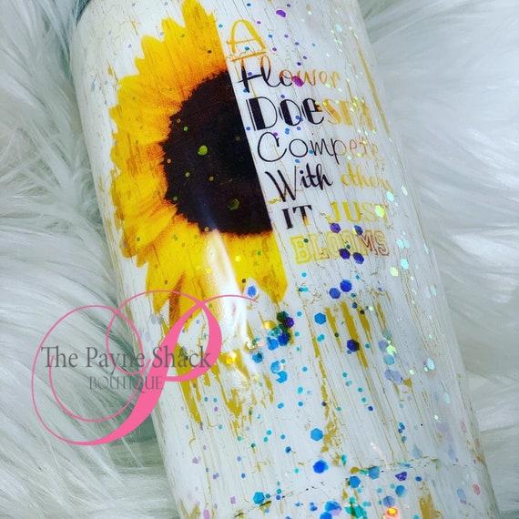 Sunflower Glitter Tumbler, Glitter Tumbler Personalized, Tumbler