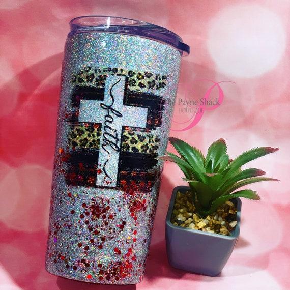 Faith Glitter Tumbler Personalized, Tumbler