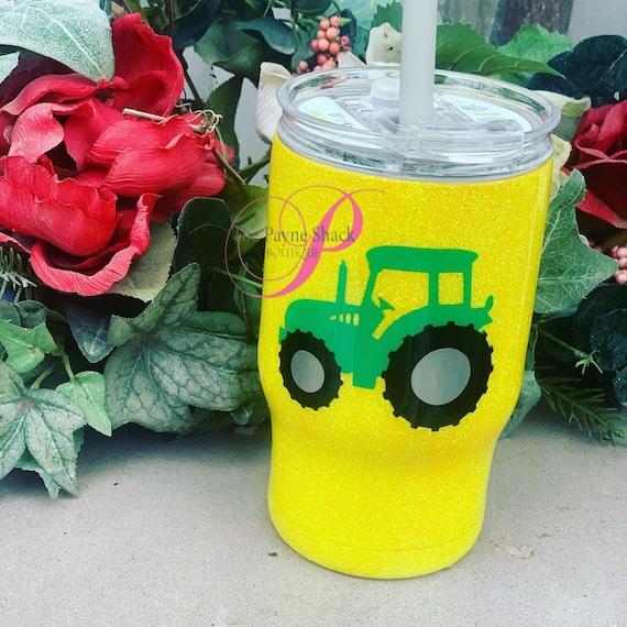 Tractor Glitter Tumbler, Personalized Kids Tumbler, Tumbler