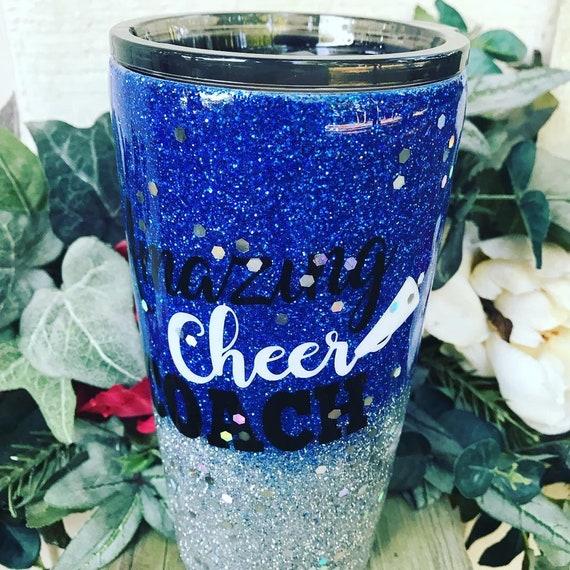 Cheer Coach Glitter Tumbler, Glitter Tumbler Personalized, Tumbler
