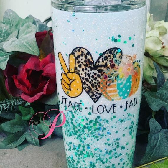 Peace Love Fall Glitter Tumbler,Glitter Tumbler Personalized, Tumbler