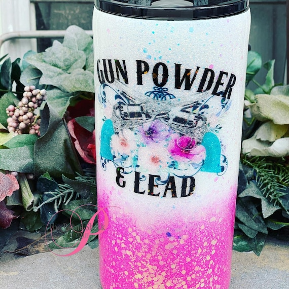 Gun Powder and Lead Glitter Tumbler, Glitter Tumbler Personalized, Tumbler