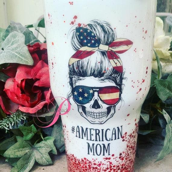 American Mom Glitter Tumbler, Glitter Tumbler Personalized