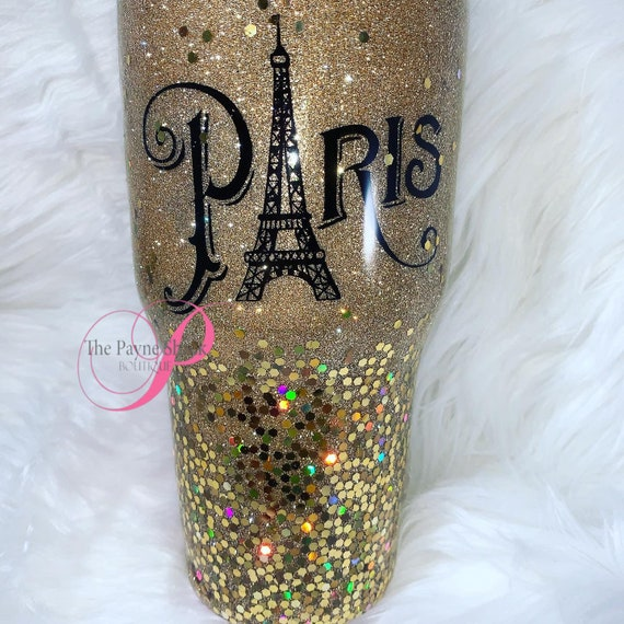 Paris Glitter Tumbler Personalized, Tumbler