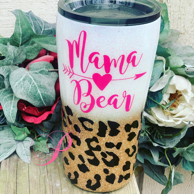 Mama bear glittered tumbler  mamma bear
