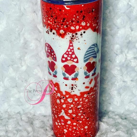 Gnome Valentine, Live Laugh Love Glitter Tumbler Personalized, Tumbler