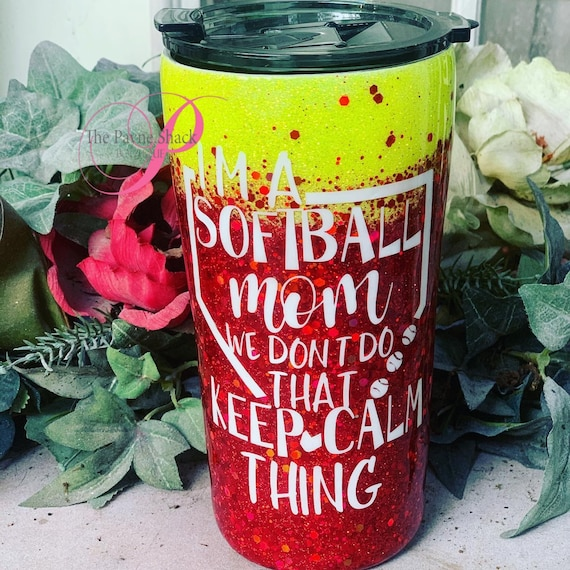 Softball Mom Tumbler,  Glitter Tumbler Personalized, Tumbler