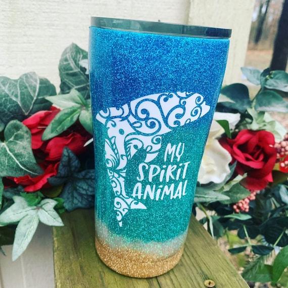 Dolphin Beach Tumbler Cup, Glitter Tumbler Personalized, Tumbler
