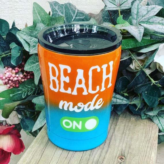 Beach Mode On Tumbler, Glitter Tumbler Personalized, Tumbler