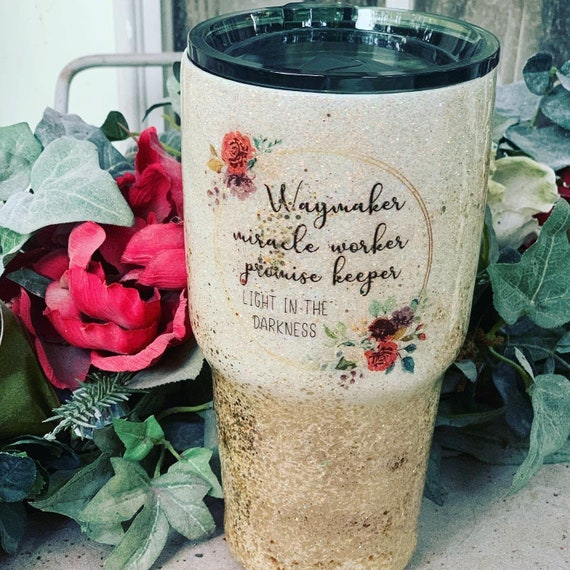 Waymaker Miracle Worker Tumbler, Glitter Tumbler Personalized