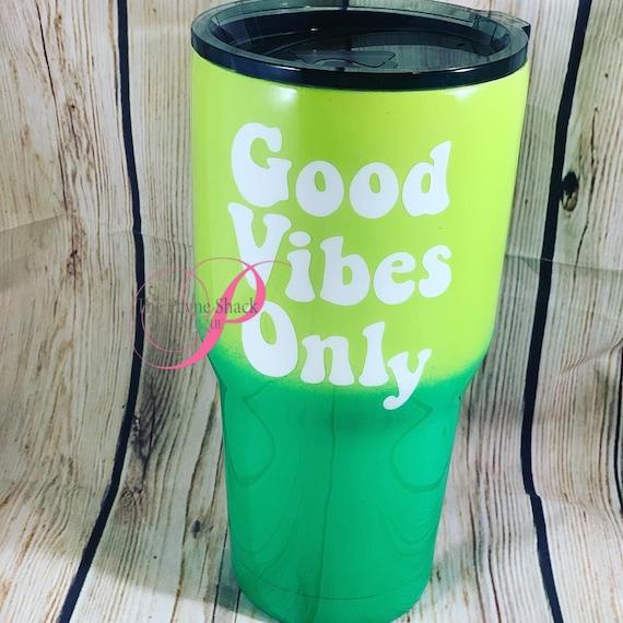 Good Vibes Only Tumbler, Glitter Tumbler Personalized, Tumbler