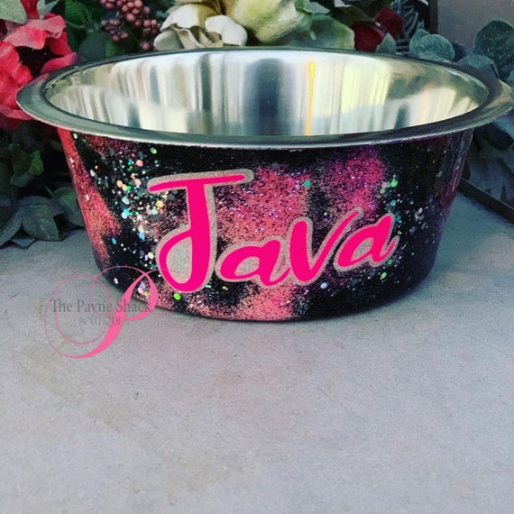 Dog Bowl, Glittered Pet Bowl, Personalized Pet Gift, Tumbler