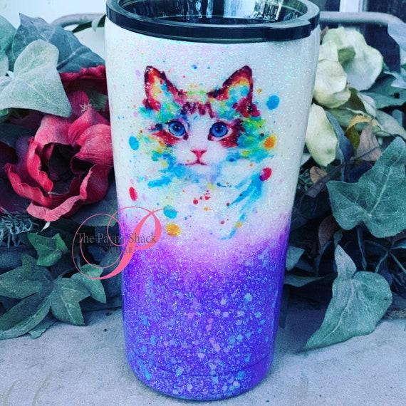 Cat Glitter Cup, Glitter Tumbler Personalized, Tumbler