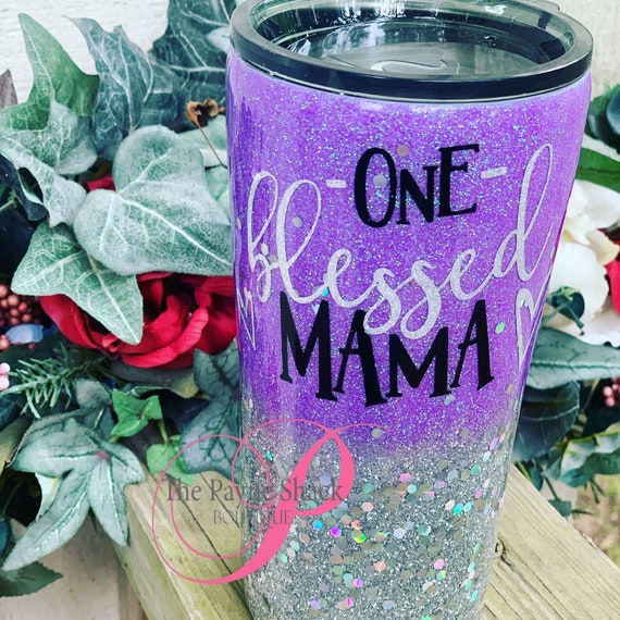 One Blessed Mama Glitter Tumbler, Glitter Tumbler Personalized, Tumbler