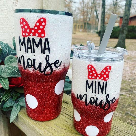 Mama Mouse Glitter Tumbler, Mini Mouse Glitter Tumbler, Tumbler