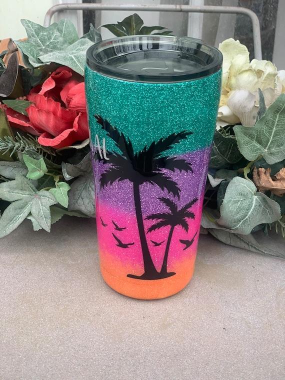 Beach Please Glitter Tumbler, Glitter Tumbler Personalized, Tumbler