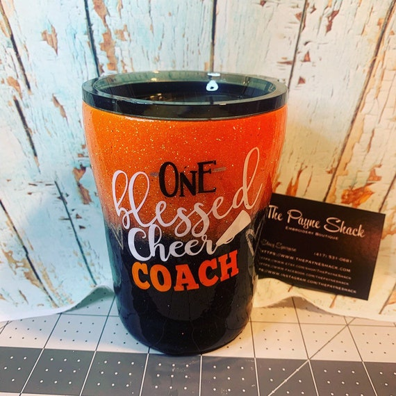 One Blessed Cheer Coach, Glitter Tumbler Personalized, Tumbler