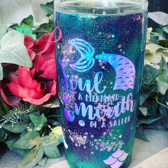 Soul of a Mermaid Glitter Tumbler, Glitter Tumbler Personalized, Tumbler