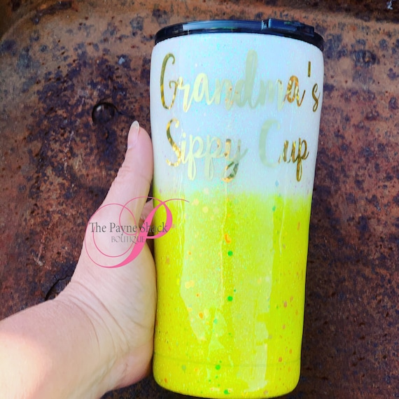 Grandma's Sippy Cup Glitter Tumbler Personalized, Tumbler