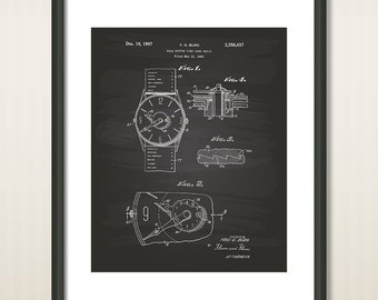 Push Button Time Zone Watch 1966 Patent Art Illustration - Drawing - Printable INSTANT DOWNLOAD - Get 5 Colors Background