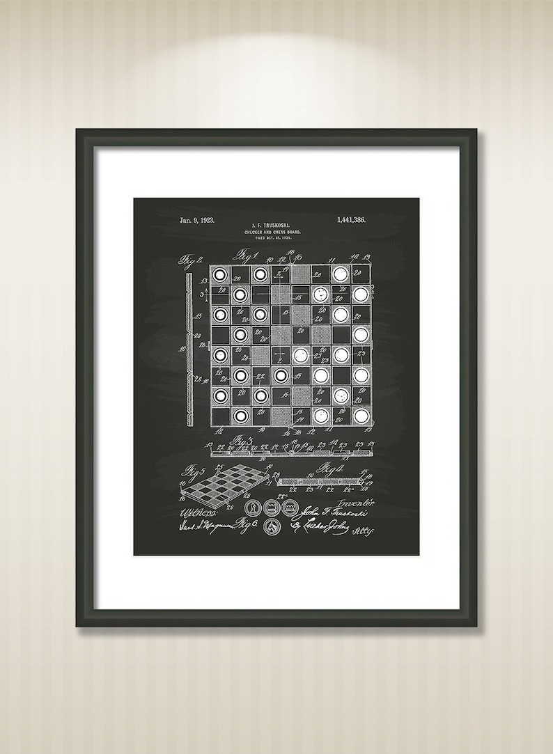 graphic about Chess Board Printable identified as Classic Checker And Chess Board 1923 Patent Artwork Example - Drawing - Printable Fast Obtain - Receive 5 hues historical past