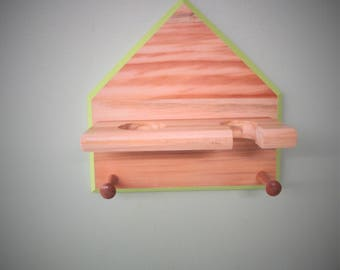 Home plate Baseball bat and ball display Rack , white pine wood with key lime green trim and clear finish