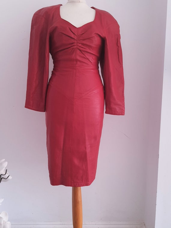 80s North Beach Red Leather Open back Dress- S