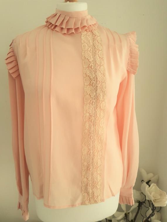 70s Salmon Pink  Silk Pleat  Ruffle Detail  Lace T