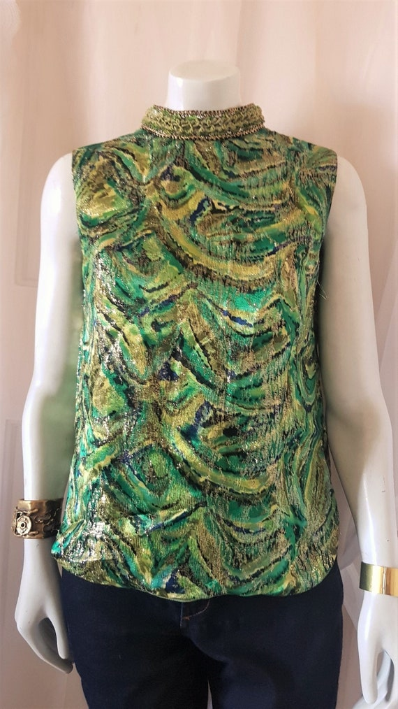 60s  Swirly  Print Green Gold Brocade Metallic Sta