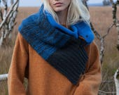 hyacinth macaw in royal blue knitted from lambswool