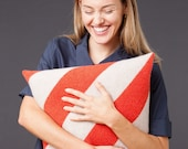 Cushion Cover Diagonal red beige Striped