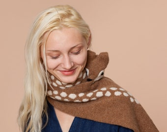 knitted doe scarf with dots