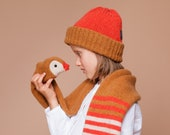 knitted duck scarf with red stripes