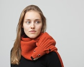 Red Fox Stole, knitted and washed from Lambswool with color gradient in woodland style