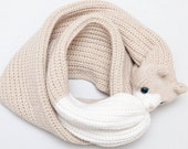 Cat Scarf – Chunky Knit Scarf Featuring White and Beige