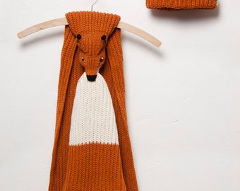 red fox scarf with hat